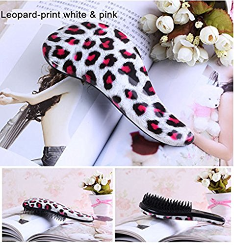 Full Shine The Handmade Comb Detangling Hair Brush Comb Pairs for Adults & Kids Detangle Hair Easily With No Pain Leopard-Print White & Pink Colour