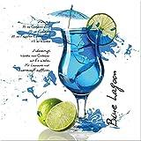 artissimo, Glasbild, 50x50cm, AG2120A, Blue Lagoon, Küchenbild, Cocktails, Bild aus Glas, Moderne Wanddekoration aus Glas, Wandbild Wohnzimmer Modern