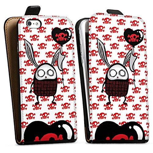 Apple iPhone X Silikon Hülle Case Schutzhülle Hase Herz Bunny Downflip Tasche schwarz