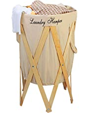 HOKIPO® Laundry Basket Large 80-Litre European Pattern Laundry Hamper Cloth Bag with Foldable Wooden Stand Support.(Cream)