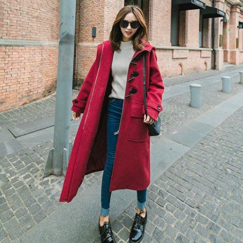 Xuanku Lose Hooded Horn Kleidung Der Frauen Frauen Akademie Windigen Winter Lang Wolljacke, XL,Wein Rot - Akademie-kleidung Mädchen Für