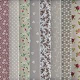 Textiles français Stoffpak - Set de telas - 8 telas (marrón, beige y gris) - colección de telas de coordinación (pequeños diseños) | 100% algodón | cada pieza 35 cm x 50 cm
