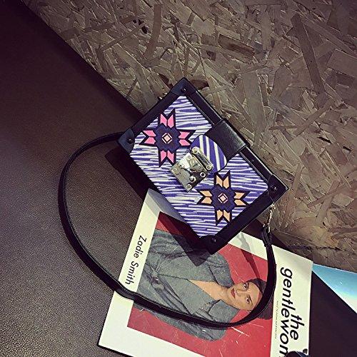 Geometrische Muster Drucken Kleine Quadratische Tasche Mode Handtaschen Schulter Messenger Box Violett
