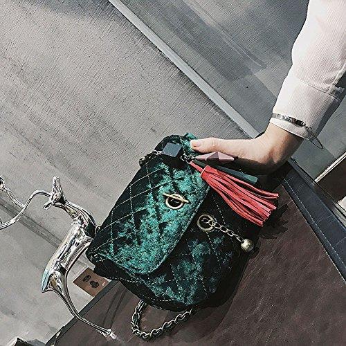 Preisvergleich Produktbild Mascara Handtaschen Retro Kleinen Quadratischen Mode Samt Lingge Kette Schulter Messenger Bag , Grün