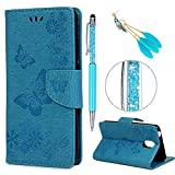 iAdvantec Wiko Lenny 5 Hülle Case, Filp PU Leder Wallet Handyhülle Flipcase : Bookstyle Schmetterlingsprägung Tasche Brieftasche Schutzhülle in Blau + Anti Staub Stöpsel + Stylus