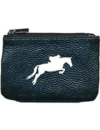 Pequeño monedero, de piel, con llavero, color negro, diseño de caballo de carreras