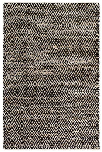 Fab Hab, Alfombra de Piso de Algod-n Yute y Reciclado, Fibras Naturales respetuosas del Medio Ambiente, Tejidas a Mano - Madera/Negro y Natural (60 cm x 90 cm)