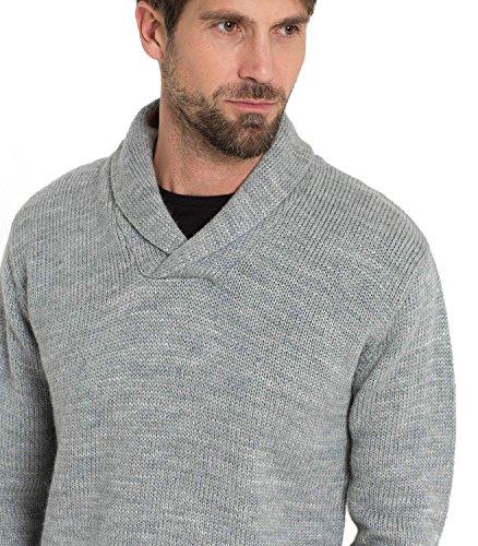 WoolOvers Schalkragenpullover, Herren (Schurwolle) - F30 Flannel Grey
