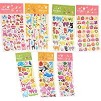 3D Stickers Puffy Super Cute 7 Sheets Sticker Cartoon Multiple Shapes Phone Decoration Diary Scrapbook Album for Girls Children