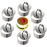 ONEDONE Mousse Ringen, taartring, roestvrij staal, cakevorm met schuif, 8 cm diameter, 6 stuks (rond)