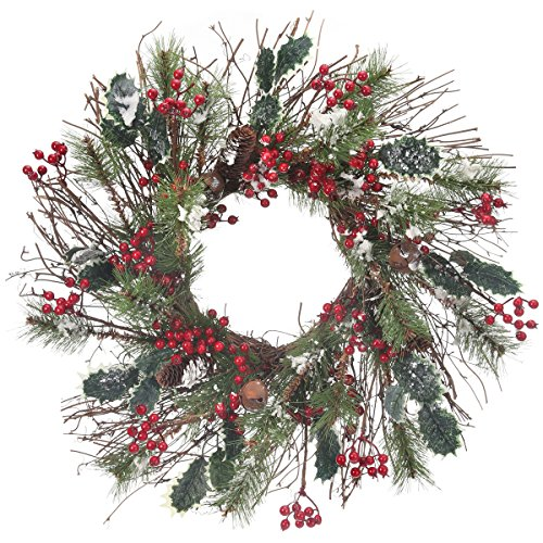 Frosted Skip Pine W/Berry/Holly Wreath 24