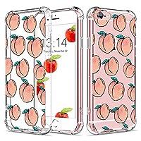 "Caroki iPhone 6 Case, iPhone 6S Clear Case Shockproof Fruit Peach Design [Slim Fit] Transparent Case with Reinforced Corners Soft TPU Bumper Cover For iPhone 6/6S 4.7""-Peach"