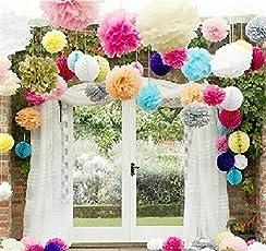 "LifeGlow Crafts™ Pom Poms -12Pcs of 10"" 12"" 14"" Multi-Colors Tissue Paper Flowers Pom Poms Wedding Decor Party Decor Pom Pom Flowers Pom Poms Craft Pom Poms Decoration (Colorful)"