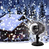 GAXmi Christmas Projector Light LED Snow Falling Night Lights White Snowflake Flurries Rotating Snowfall Spotlight Outdoor Indoor Landscape Decorative Lighting for Wedding New Year Stage