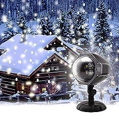 Idea Regalo - GAXmi Luce di caduta della neve Natale Nuvole bianche di neve Luci del proiettore del LED Rotante riflettore per Nozze Compleanno Vigilia di Capodanno All'aperto Interno Decorazione del paesaggio