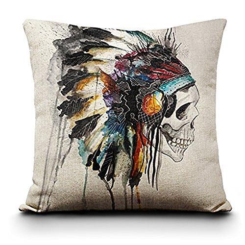 45,7cm Colorful Sugar Skull Tag der Toten Mexiko Leinen Überwurf Kissenbezug, 18*18inch American Indian (Tag Der Toten Dekor)