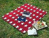 Tolle Picknickdecke mit Sterne in Normal- und XXL-Grösse, 130x170 - rot