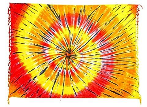 Sarong Pareo Wickelrock Strandtuch Tuch Wickeltuch Handtuch - Blickdicht - ca. 170cm x 110cm - Rot Gelb Orange mit Batik Motiv Tie Dye Handgefertigt inkl. Kokos Schnalle in Fischform