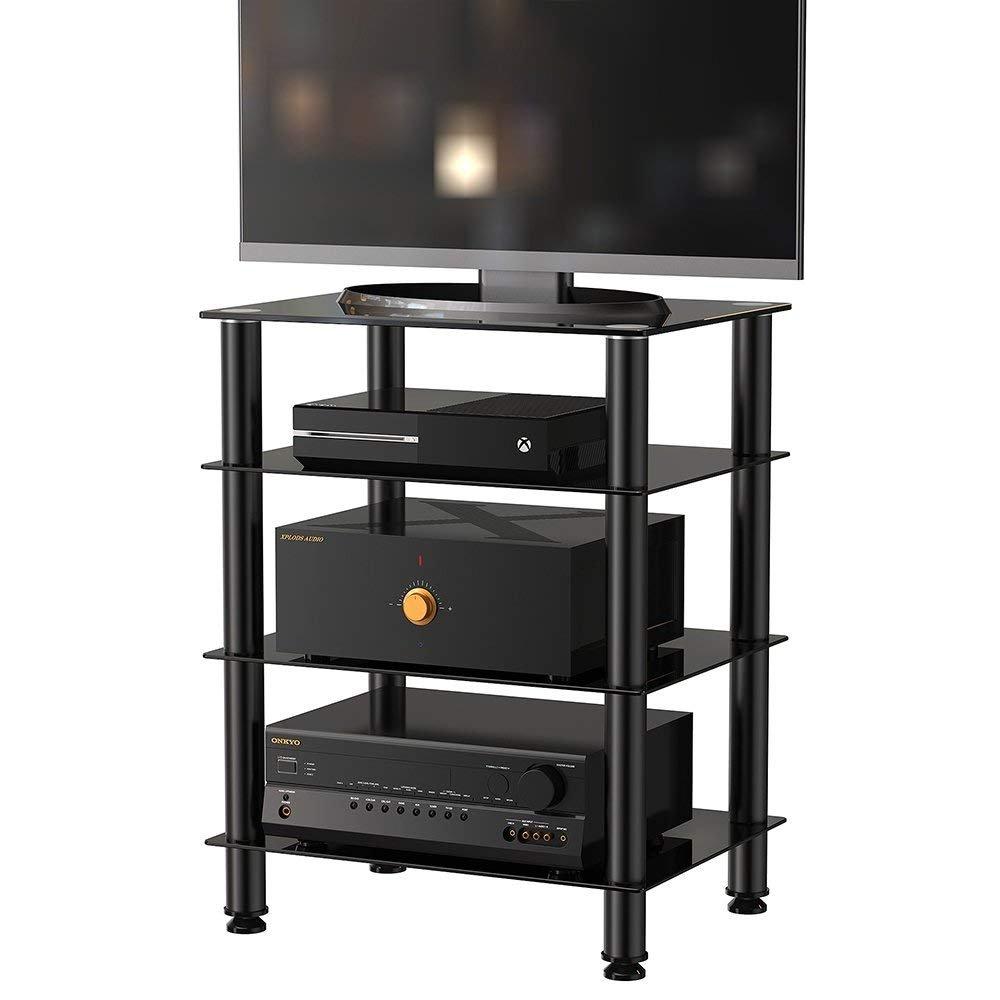 photos officielles 18de5 f96eb Fitueyes Meuble TV à 4 niveaux avec étagères en verre pour système audio,  Apple TV, Xbox One, PS4 et autres