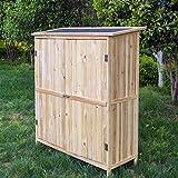 Wiltec Gartenschrank Holz Naturfarbe 2 Türen 138x55x155cm Werkzeugschrank Garten