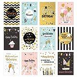 Edition Seidel Set 12 exklusive Premium Geburtstagskarten mit Umschlag. Glückwunschkarte Grusskarte zum Geburtstag. Geburtstagskarte Mann Frau Billet