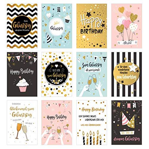 Set 12 exklusive Premium Geburtstagskarten mit feiner Goldprägung oder Glimmer und Umschlag. Glückwunschkarte Grusskarte zum Geburtstag. Geburtstagskarte Mann Frau Billet