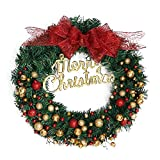 Jia Meng Weihnachten Deko Weihnachten große Kranz Tür Wand Ornament Girlande Dekoration [Xmas Schwarzer Freitag] Rot Bowknot Weihnachtsbaum Decor (40CM, Weihnachten)