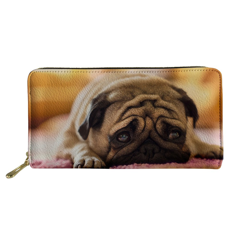 HUGS IDEA Funny Beagle Print Long Wallet Women Girl Travel Clutch Purse Portable Card Bag