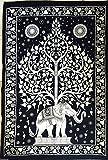 Single schwarz & weiß Tree of Life Psychedelic Wandteppich Mandala Überwurf Hippie Gypsy, Bohemian Wohnheim Deco 100% Baumwolle 203,2x 137,2cm