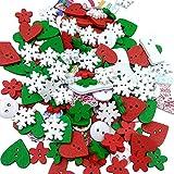 Pixnor Confezione di Scrapbooking bottoni in legno per cucire pulsante capretto mestiere DIY Wedding decorazione (Natale)