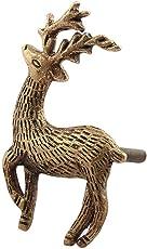Indian-Shelf 2-Piece Handmade Metal Golden Swamp Deer Drawer/Dresser Knobs (RAK-93)