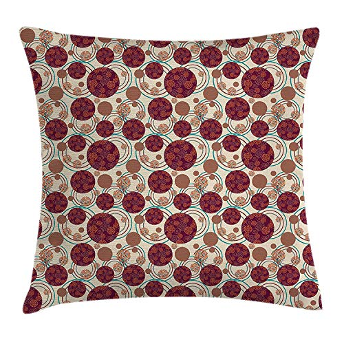 Moss Green Dot (Yinorz Geometric Circle Decor Throw Pillow Cushion Cover by, Dynamic Ring Spherical Disco Balls Dot and Stripes Swirls Display, Decorative Square Accent Pillow Case, 18 X 18 Inches, Maroon Beige)