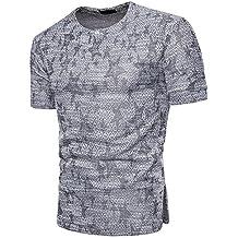 NPRADLA T Shirt Hommes Imprimé Personality Men s Casual Slim Patchwork  Manches Courtes Chemisier Mode Casual Nouveau d87e74a35bab
