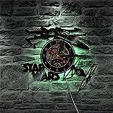 OOFAY Clock@ Wanduhr Aus Vinyl Schallplattenuhr Upcycling LED Star Wars Familien Dekoration 3D Design-Uhr Wohnzimmer Schlafzimmer Restaurant Wand-Deko Schwarz/Durchmesser 30 cm