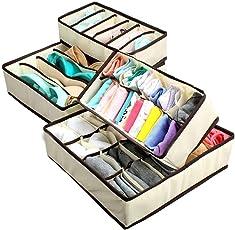 House of Quirk Set of 4 Foldable Storage Box Drawer Divider Organizer Closet Storage for Socks Bra Tie Scarfs - Beige