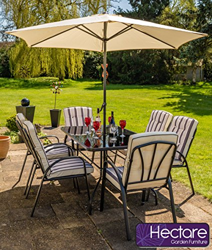 Hectare Hadleigh Steel Garden & Patio Outdoor Furniture Set by (6 Seater Set, Black)