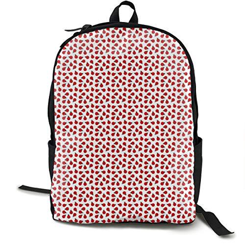 Cute Summer Lady Bug Pattern Adult Premium Travel Backpack, Water-Resistant College School Bookbag, Sport Daypack, Outdoor Rucksack, Laptop Bag for Men&Women