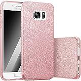Finoo | Samsung Galaxy S7 Edge Rundum 3 in 1 Glitzer Bling Bling Handy-Hülle | Silikon Schutz-hülle + Glitzer + PP Hülle | Weicher TPU Bumper Case Cover | Pink