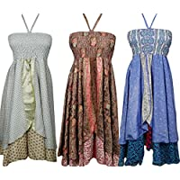 Boho Chic Designs Womens Summer Hi Low Halter Dress 2 Layer Upcycled Silk Sari Beach Dress S Lot Of 3 Set