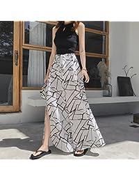 bdfacc93c7490 Limiz Falda de Pierna Ancha de Playa 2018 Patrón geométrico Coreano Gasa  Sexy Dividir Pantalones de