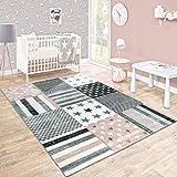 Paco Home Kinderteppich Kinderzimmer Konturenschnitt Stern Muster Rosa Grau Pastellfarben, Grösse:120x170 cm