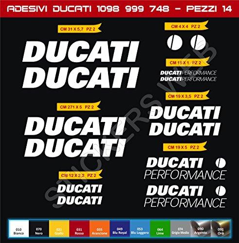 Selbstklebend stickers-performance Ducati 7488489991098ECC... Kit 14Teile?SCEGLI colore- Motorrad Cod. 0139 - Bianco cod. 010 (Ducati 1098 Teile)
