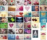 40 Liebes-postkarten im Set, Love-cards, Liebe, Herzen, Hochzeit, 40 unterschiedliche Motive ideal für Hochzeitsspiele