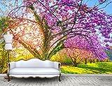 HHCYY 3D Tapete Schöne Garten Kirschbaum Sakura Blossom Blossom 3D Hintergrund Wand-300cmx210cm