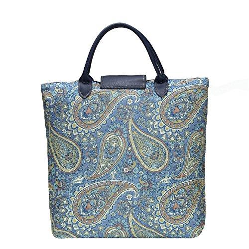 Borsa donna Signare in tessuto stile arazzo Pieghevoli Shopping alla moda Peonia Paisley