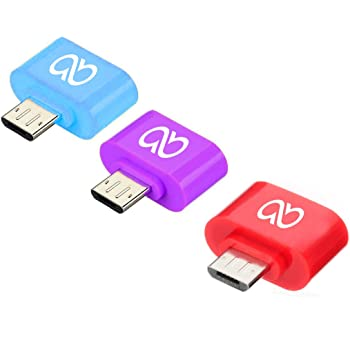 Advent Basics™ Pack Of Three Stylish Little Adapter Micro USB OTG to USB 2.0 Adapter Compatible With Smartphones & Tablets (Mixcolor)