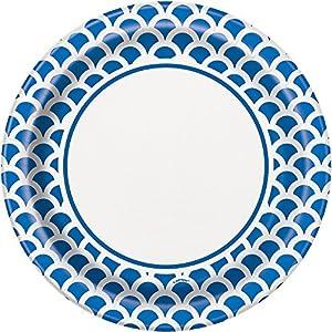 Unique Party Paquete de 8 Platos de Papel con diseño de Concha, Color Azul Rey, 23 cm (37195)