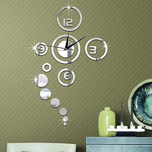 forepin reg; DIY Wanduhr Moderne 3D Wandtattoo mit Spiegel Design Dekoration Clock Uhr für...