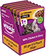 Whiskas Adult (+1 year) Wet Cat Food, Chicken in Gravy, 6 Pouches (6 x 85g)