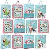 com-four® 12x Geschenktasche für Weihnachten, Geschenk-Tüten mit verschiedenen Motiven [Auswahl variiert], Papier-Tragetaschen, 40,5 x 33 x 9,5 cm (X-Mas 02-12 Stück)